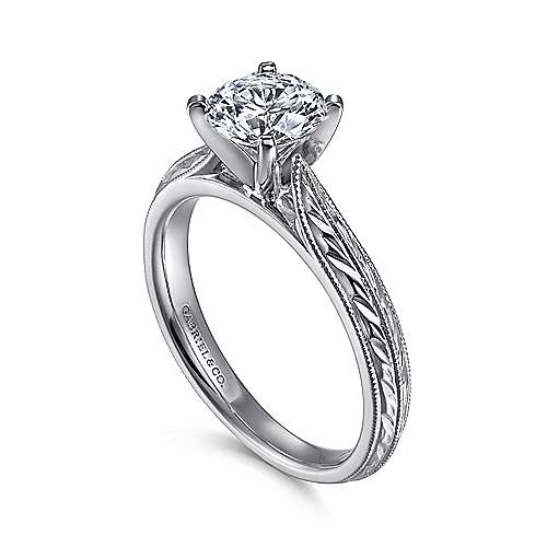 Della Platinum Round Straight Engagement Ring angle 3