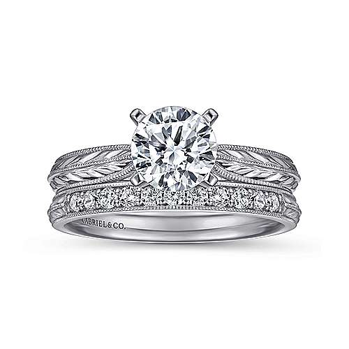 Della Platinum Round Straight Engagement Ring angle 4