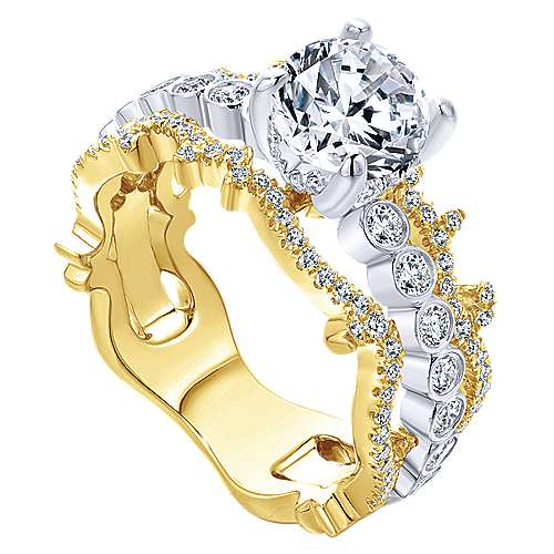 Delphine 18k Yellow And White Gold Round Free Form Engagement Ring angle 3
