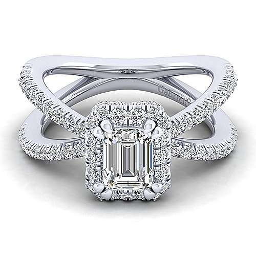 Gabriel - Delphinia 14k White Gold Emerald Cut Halo Engagement Ring