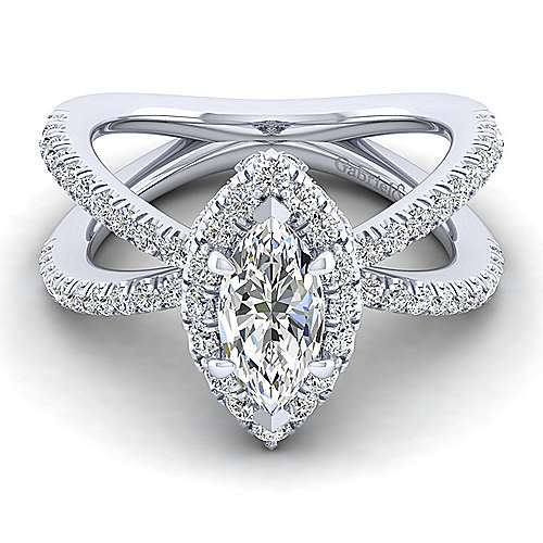 Gabriel - Delphinia 14k White Gold Marquise  Halo Engagement Ring