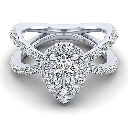 Gabriel - Delphinia 14k White Gold Pear Shape Halo Engagement Ring