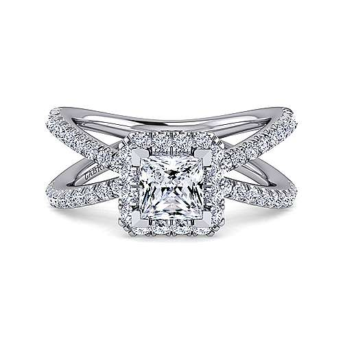 Gabriel - Delphinia 14k White Gold Princess Cut Halo Engagement Ring