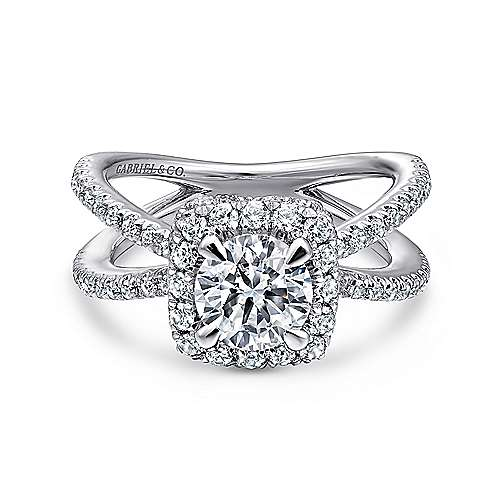 Gabriel - Delphinia 14k White Gold Round Halo Engagement Ring