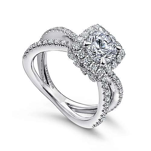 Delphinia 14k White Gold Round Halo Engagement Ring angle 3