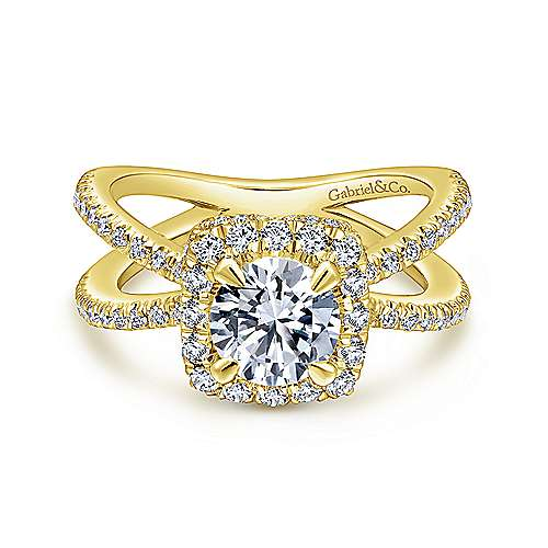 Gabriel - Delphinia 14k Yellow Gold Round Halo Engagement Ring