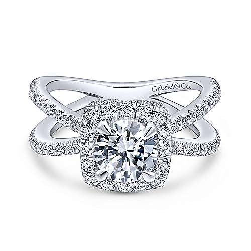 Gabriel - Delphinia 18k White Gold Round Halo Engagement Ring