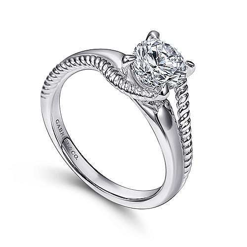 Delta 14k White Gold Round Bypass Engagement Ring angle 3