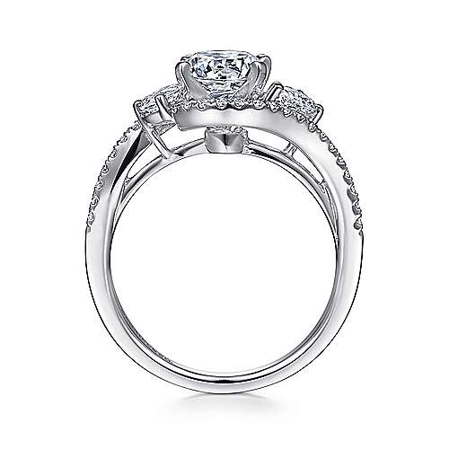 Demi 14k White Gold Round Bypass Engagement Ring angle 2
