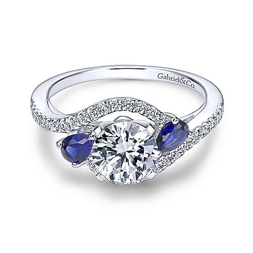 Gabriel - Demi 18k White Gold Round 3 Stones Engagement Ring