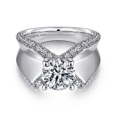 Denise 14k White Gold Round Straight Engagement Ring angle 1