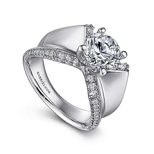 Denise 14k White Gold Round Straight Engagement Ring angle 3