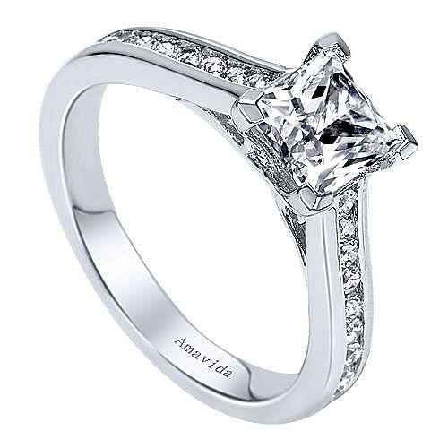 Denita 18k White Gold Princess Cut Straight Engagement Ring angle 3