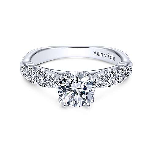 Gabriel - Desire 18k White Gold Round Straight Engagement Ring