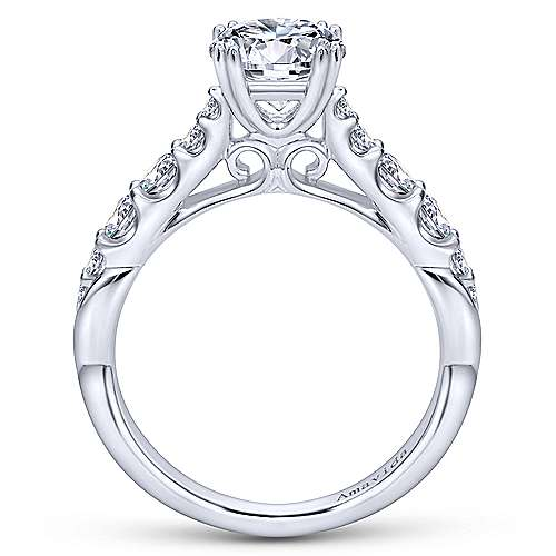 Desire 18k White Gold Round Straight Engagement Ring angle 2