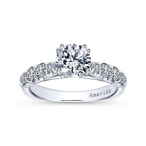 Desire 18k White Gold Round Straight Engagement Ring angle 5