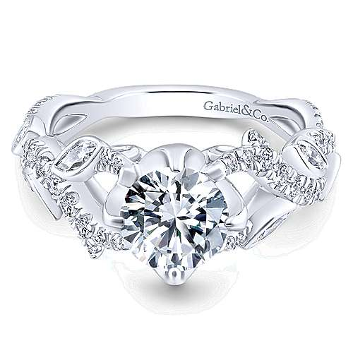 Gabriel - Desiree 14k White Gold Round Twisted Engagement Ring