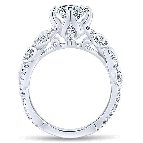 Desiree 14k White Gold Round Twisted Engagement Ring angle 2