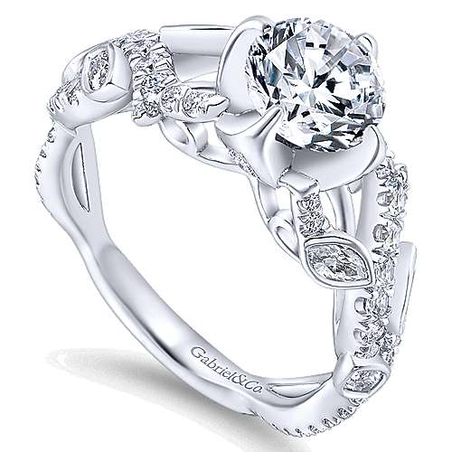 Desiree 14k White Gold Round Twisted Engagement Ring angle 3