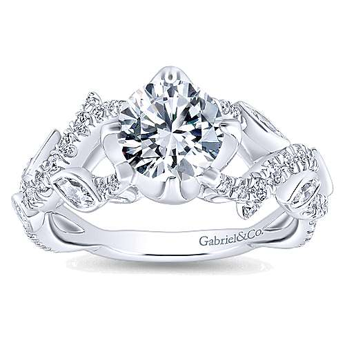 Desiree 14k White Gold Round Twisted Engagement Ring angle 5