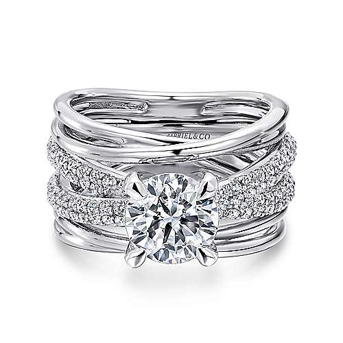Gabriel - Desiree 18k White Gold Round Twisted Engagement Ring