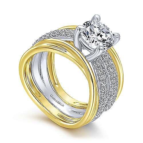 Desiree 18k Yellow And White Gold Round Straight Engagement Ring angle 3