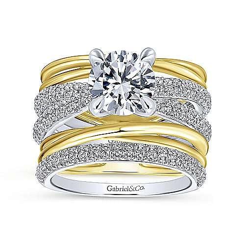 Desiree 18k Yellow And White Gold Round Straight Engagement Ring angle 4