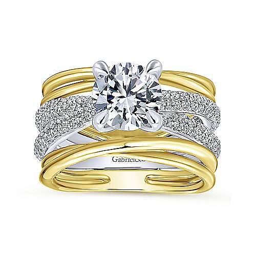 Desiree 18k Yellow And White Gold Round Straight Engagement Ring angle 5