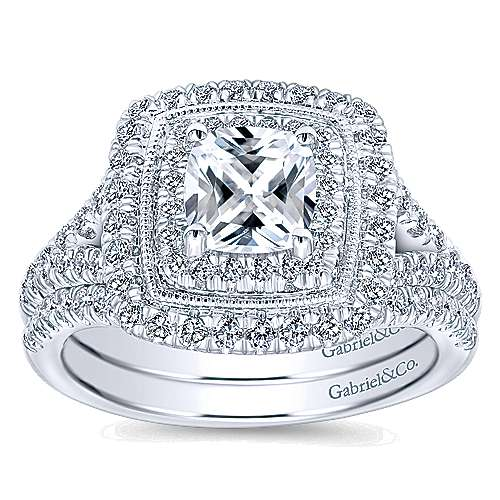 Destiny 14k White Gold Cushion Cut Double Halo Engagement Ring angle 4