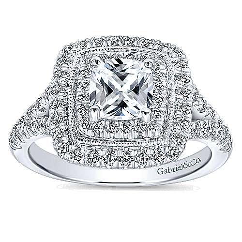 Destiny 14k White Gold Cushion Cut Double Halo Engagement Ring angle 5