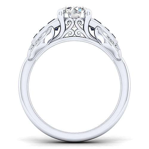 Devine 18k White Gold Round Straight Engagement Ring angle 2