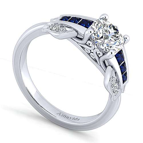 Devine 18k White Gold Round Straight Engagement Ring angle 3