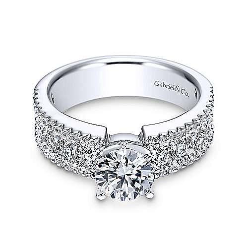 Devon 14k White Gold Round Straight Engagement Ring angle 1