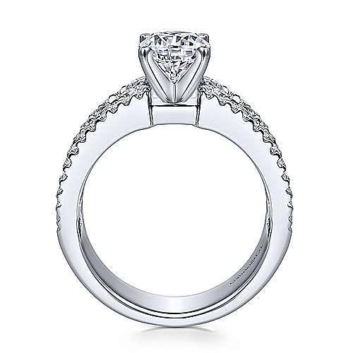 Devon 14k White Gold Round Straight Engagement Ring angle 2