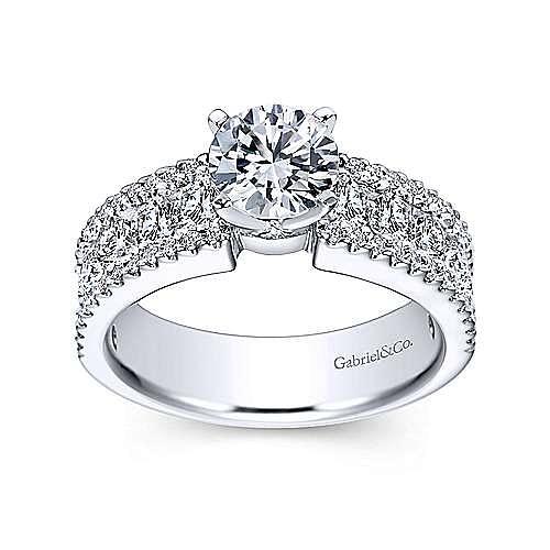 Devon 14k White Gold Round Straight Engagement Ring angle 5