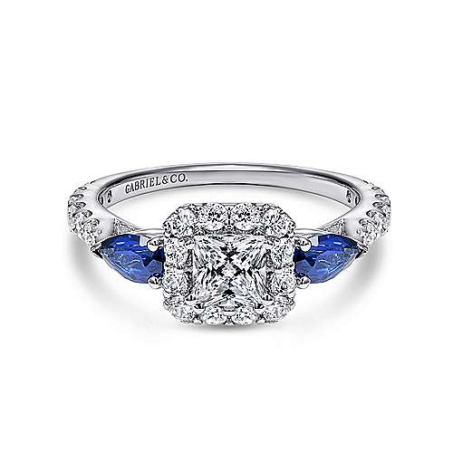 Devoted 14k White Gold Princess Cut Halo Engagement Ring angle 1