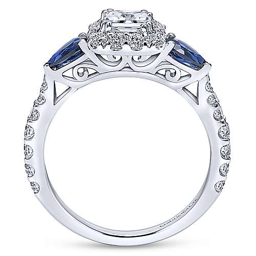Devoted 14k White Gold Princess Cut Halo Engagement Ring angle 2