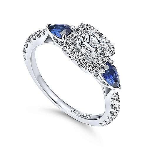 Gabriel Co Princess Cut Contemporary Halo Engagement Ring