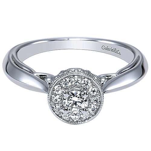 Devyn 14k White Gold Round Halo Engagement Ring angle 1