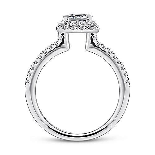 Diana 14k White Gold Princess Cut Halo Engagement Ring angle 2