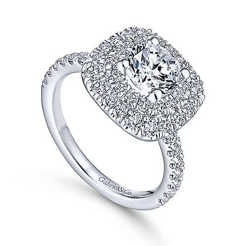 Diana 14k White Gold Round Double Halo Engagement Ring angle 3