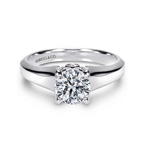 Gabriel - Diane 14k White Gold Round Solitaire Engagement Ring