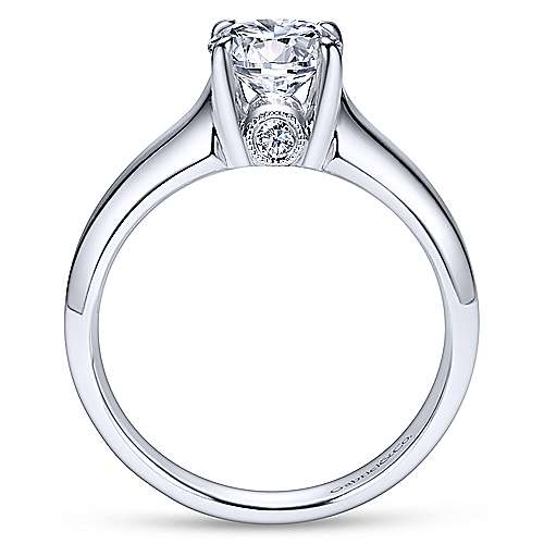 Diane 14k White Gold Round Solitaire Engagement Ring angle 2