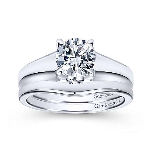 Diane 14k White Gold Round Solitaire Engagement Ring angle 4