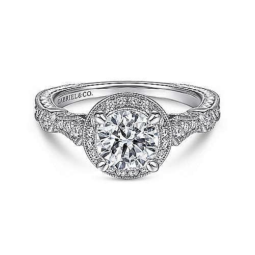 Gabriel - Dita 14k White Gold Round Halo Engagement Ring