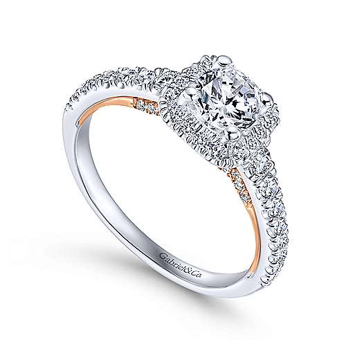 Divine 14k White And Rose Gold Round Halo Engagement Ring angle 3