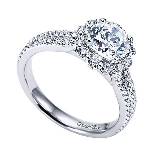 Dixie 14k White Gold Round Halo Engagement Ring angle 3