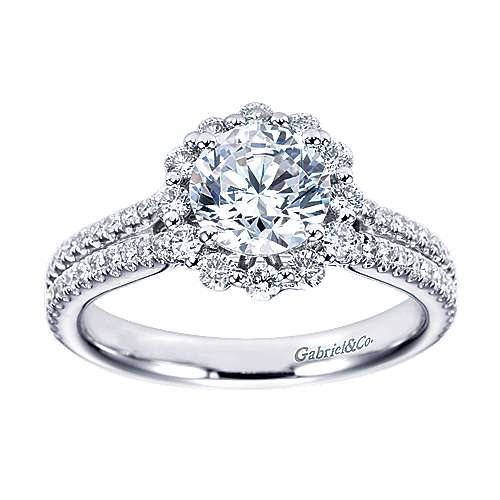 Dixie 14k White Gold Round Halo Engagement Ring angle 5