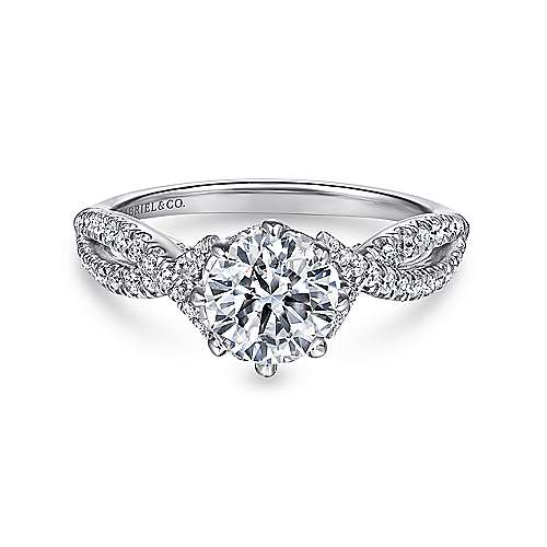 Gabriel - Dixon 14k White Gold Round Twisted Engagement Ring