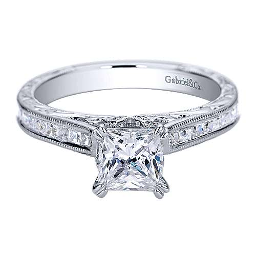 Dolores 14k White Gold Princess Cut Straight Engagement Ring angle 1
